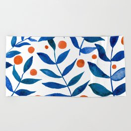 Watercolor berries and branches - blue and orange Beach Towel