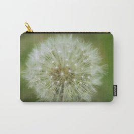 Fruit of a Common Dandelion (Taraxacum officinale) growing wild in grassland. Carry-All Pouch