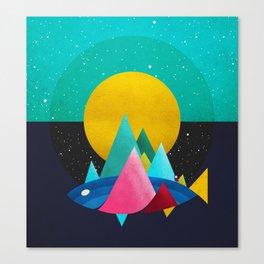 047 Owly travelling through vast cosmic sea Canvas Print