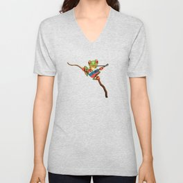 Tree Frog Playing Acoustic Guitar with Flag of Russia Unisex V-Neck