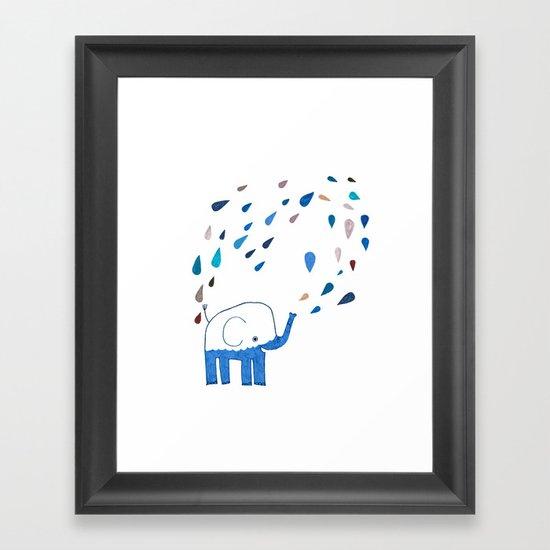 how an elephant showers Framed Art Print