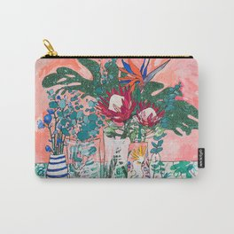 Cockatoo Vase - Bouquet of Flowers on Coral and Jungle Carry-All Pouch