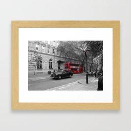 red bus Framed Art Print