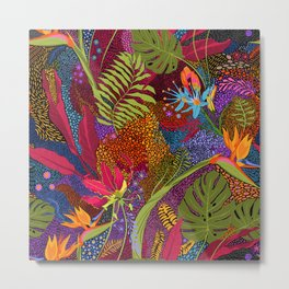 Tropical Flora//Colorful Polynesian Flowers//Ferns Bird of Paradise Metal Print