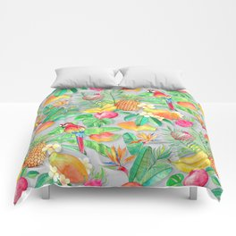 Tropical Paradise Fruit & Parrot Pattern Comforters