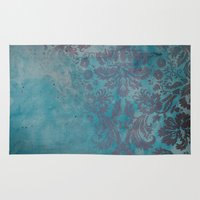 damask Area & Throw Rugs featuring Grunge Damask by cafelab