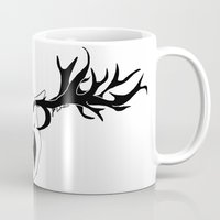 antler Mugs featuring Antler Protection by Wolf & Whale
