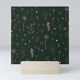 Wild botanical pattern Dark Green Edition Mini Art Print