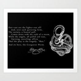 Conqueror Worm - White on Black Art Print