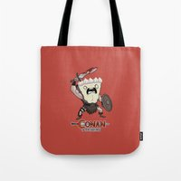 conan Tote Bags featuring Conan The Bavarian by Bobby Baxter