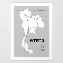 Constellation of Food - Thailand - White Art Print