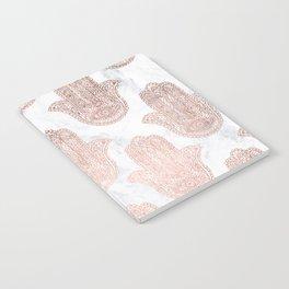 Modern rose gold floral lace hamsa hands white marble illustration pattern Notebook