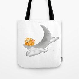 kitty on moon Tote Bag