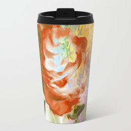 Red Rose With Psychedelic Background By Annie Zeno Travel Mug