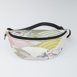 scales simple Nature background with japanese sakura flower, rosy pink Cherry, wave circle pattern Fanny Pack