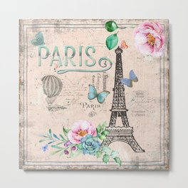 Paris - my love - France Nostalgy- pink French Vintage Metal Print