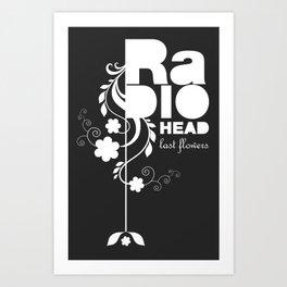 Radiohead song - Last flowers illustration white Art Print