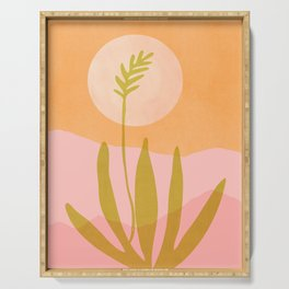 Desert Moon With Agave / Abstract Landscape Serving Tray