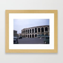 Vintage Color Photo * Verona Arena * Italy * 1950's * Antique Cars * Bus *Italian Framed Art Print