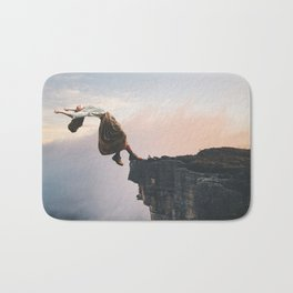 Up in the Clouds-Surreal Levitation Off a Cliff Bath Mat