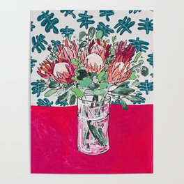 Bouquet of Proteas with Matisse Cutout Wallpaper Poster