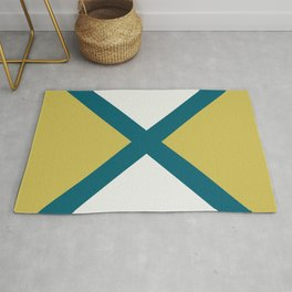 Off White, Dark Yellow and Tropical Dark Teal Inspired by Sherwin Williams 2020 Trending Color Oceanside SW6496 Minimal Solid Color Design 2 Rug