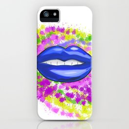 Blue Painted Lips iPhone Case