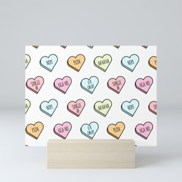 Sassy Valentines Candy Heart Pattern Mini Art Print