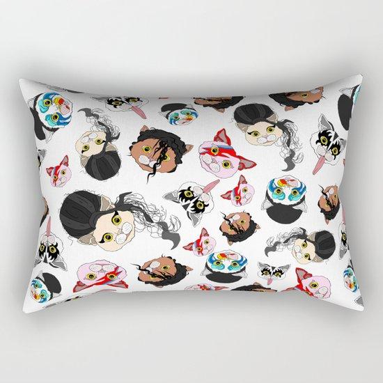 Pop Cats - Pattern on White Rectangular Pillow