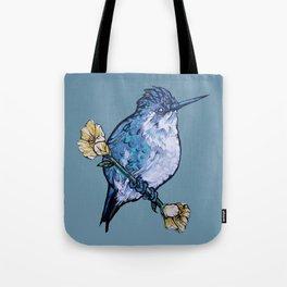 L'il Lard Butt Bee Hummingbird on Mallow flower Tote Bag