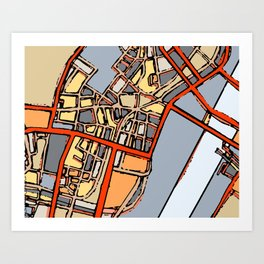 Abstract Map- Boston Chinatown Art Print