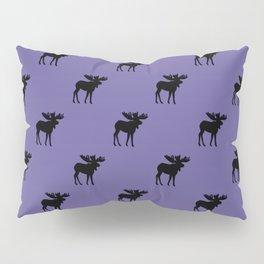 Bull Moose Silhouette - Black on Ultra Violet Pillow Sham