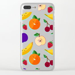 happy fruits and berries Clear iPhone Case