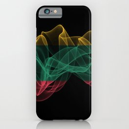 Lithuania Smoke Flag on Black Background, Lithuania flag iPhone Case