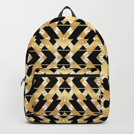 Gold Foil and Black Art Deco Chevron Backpack