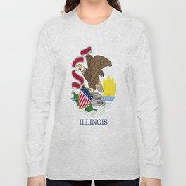 flag illinois,america,usa,midwest,Land of Lincoln,Prairie State,Illinoisan,Chicago,Aurora,Rockford Long Sleeve T-shirt