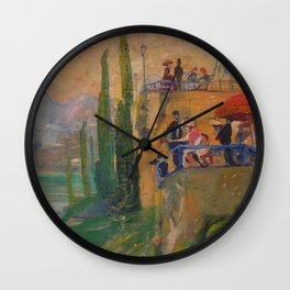 Lake Como, Italy landscape painting by  Lajos Gulácsy Wall Clock