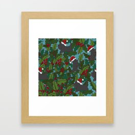 Christmas Dog Pattern Framed Art Print