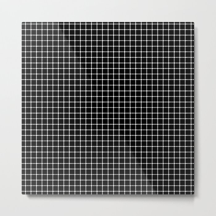 Dotted Grid Black Metal Print