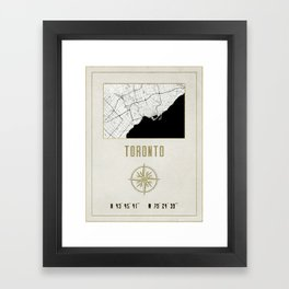 Toronto - Vintage Map and Location Framed Art Print