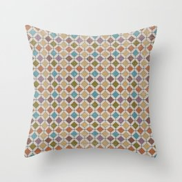 Vintage abstract geometrical mosaic diamond shapes pattern Throw Pillow