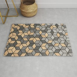 Concrete and Wood Cubes Rug