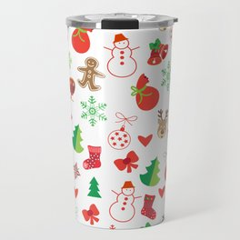 Happy New Year and Christmas Symbols Decoration Travel Mug