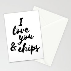 I love you & chips Stationery Cards