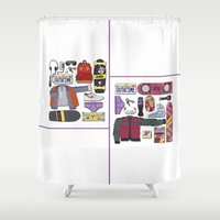 back to the future Shower Curtains featuring Back to the future by Marc Steinmann
