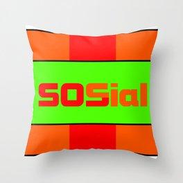 SOS social Throw Pillow