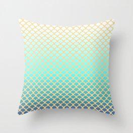 Turquoise squama Throw Pillow