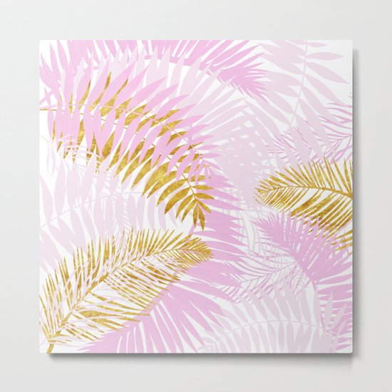 Aloha- Pink Tropical Palm Leaves and Gold Metal Foil Leaf Garden Metal Print