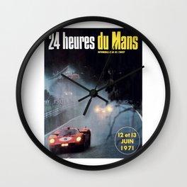 Le Mans, 24hs Le Mans 1971, vintage poster, Le mans t-shirt Wall Clock