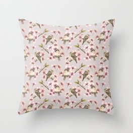 Sparrows in blossom  Throw Pillow